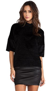 10 CROSBY DEREK LAM Velvet Oversized Sweater in Black | REVOLVE