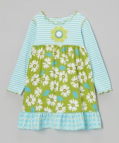 Take a look at this Green & Aqua Daisy Dress - Infant, Toddler & Girls on zulily today!