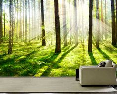 Morning forest Fog wall mural, wall decal, repositionable peel stick wall paper, wall covering $425