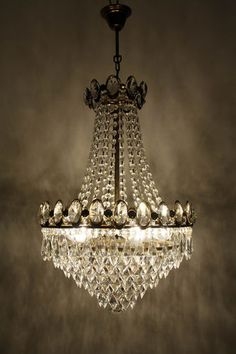 Antique Vintage French Basket Style Brass Crystals Large Chandelier 1970 S