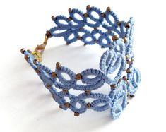 Tatted yellow lace bracelet//cuff bracelet//gift от MypreciousCG