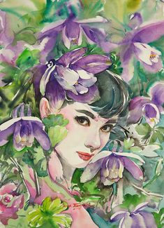 Watercolor by: Ryu Eunja  born  1958 in Anseong,  Korea