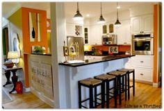walls Open Kitchen, Kitchen Dining, Kitchen Decor, Kitchen Colors, Kitchen Ideas, Kitchen Island, Quirky Kitchen, Dining Room, Nice Kitchen