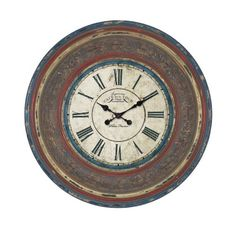 Plutus Brands Wood Wall Clock with Large Roman Numerals >>> For more information, visit image link.