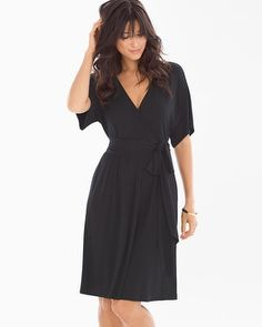 Soma Intimates Kimono Wrap Short Dress Black