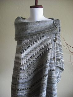 "Stonehenge pattern by Yumiko Alexander. You can wear this multiple ways."" This is a great dramatic semi-circle that forms a kind of hybrid of poncho and cape, with a spectacular grand collar."