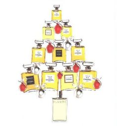 Chanel bottles in the shape of a Christmas tree.