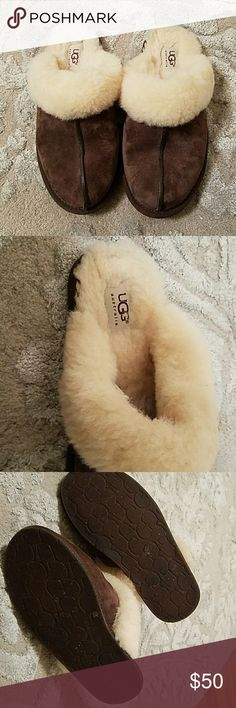 UGG Australia Scuffette II Slipper Espresso Brown suede UGG Scuffette II slippers,  shearling  lined. Worn  only a couple of times. UGG Shoes Mules & Clogs