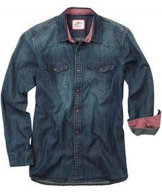 Men's aged blue denim shirt with red cuffs by Joe Browns Blue Denim Shirt, Blue Jeans, Denim Shirts, Denim Button Up, Button Up Shirts, Smart Jackets, Denim Ideas, Winter Wear, Denim Fashion