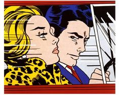 DIY oil painting on canvas wall picture by number kit In the Car Roy Lichtenstein Frameless/(With wood frame)/Framed 16x20 inch-in Painting & Calligraphy ...