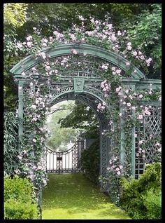 Rose arbor arch at Sunken Orchard, Oyster Bay, New York. Once one of the most beautiful gardens on the north shore of Long Island's Gold Coast, only fragmented ruins remain. Please see previous post for more on Sunken Orchard.