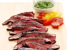 Get Flank Steak with Salsa Verde Recipe from Food Network
