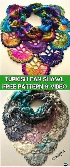 Crochet Turkish Fan Shawl Free Pattern & Video - Crochet Women Shawl Sweater Outwear Free Patterns