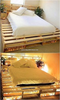 This is a stylish bed setting for your bedroom that is being crafted with the superior wood pallet material. This bed design is so funky and roughly designed out for your room which is being comprising set with the intricate cuts over the top. Wood Pallet Beds, Pallet Bed Frames, Diy Pallet Bed, Diy Pallet Furniture, Diy Pallet Projects, Bed Pallets, 1001 Pallets, Bed Made Out Of Pallets, Pallet Ideas For Bedroom