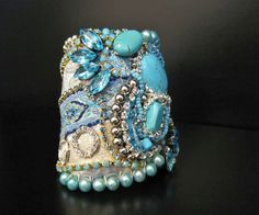One of a kind Cuff -Turquoise & Rhinestone Fabric Bracelet