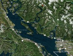 Map showing Vancouver to Princess Louisa Inlet and Malibu Rapids and Jervis inlet for a fantastic trip up the Sunshine Coast Sunshine Coast Bc, San Juan Islands, Kayaking, Vancouver, City Photo, Sailing, Boat, Weather, Park