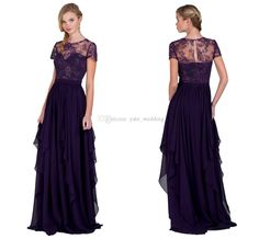 Short Sleeves Regency Prom Dresses 2015 New Arrival Lace Chiffon Pleated Long Plus Size Flowing Evening Dresses Formal Gowns With Sleeves from Yate_wedding,$101.04   DHgate.com