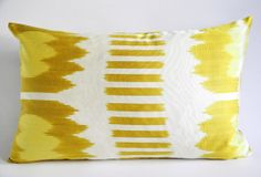 On Sale - ivory yellow throw pillow ikat - decorative throw pillows - throw pillow cover ikat - decorative throw pillow ikat - yellow lumbar by sukan, $68.00