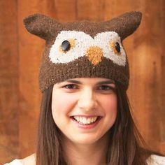 Knit an owl hat: free knitting pattern from 'Animal Hats' by Rachel Henderson using @Rowan Yarns