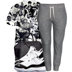 A fashion look from May 2014 featuring print t shirts, grey sweatpants and huf socks. Browse and shop related looks. Tomboy Outfits, Chill Outfits, Swag Outfits, Dope Outfits, Casual Outfits, Teenager Outfits, Dope Fashion, Fashion Killa, Urban Fashion
