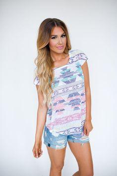 Pastel Asymmetrical Aztec Top - Dottie Couture Boutique