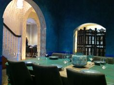 The Moroccan Room hand painted in blues and greens by Tara Green for Moorish Blue Sydney