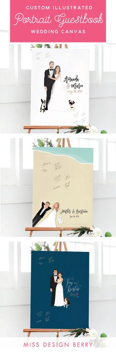 Looking for the perfect guest book? Search no further, these custom illustrated portrait guestbooks are the perfect canvas for your wedding guests to sign!