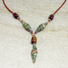 Handmade green paper beads with natural tigerseye, 18 inch necklace