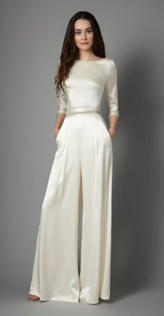 Create your own individual bridal style with our versatile and whimsical bridal separates! From essential and graceful tops to modern yet romantic skirts and trousers, our separates are for the free spirited and unique bride. Wedding Robe, Wedding Pantsuit, Elegant Wedding Dress, Wedding Attire, Elegant Dresses, Pant Suits For Wedding, 1940s Wedding Dresses, Trendy Wedding, Formal Pant Suits