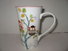 222 Fifth Porcelain Enchanted Woods Coffee Tall Latte Cup Mug Owls Paris New
