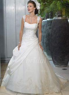 Wedding Dresses - $231.92 - Ball-Gown Sweetheart Chapel Train Organza Satin Wedding Dress With Ruffle Lace Beading (00205001179)
