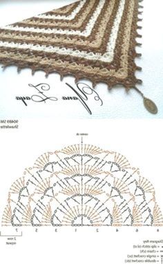 """Crochet shawl with chart. """"Delightful baktus Tiramisu hook \\/ Knitting as art!"""", """"Crochet shawl with chart. Crochet Bolero, Crochet Shawl Diagram, Crochet Shawls And Wraps, Crochet Poncho, Crochet Chart, Love Crochet, Crochet Scarves, Crochet Motif, Crochet Clothes"""
