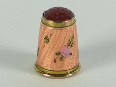 Victorian Thimble Guilloche Enamel & Gilt With Red CarnelianTop