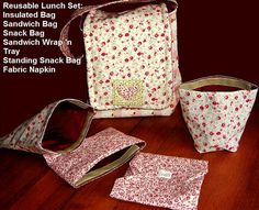 INSTANT DOWNLOAD PDF Sewing Pattern: Reusable Sandwich, Snack Bags, Stand Up Bag, Fabric Napkin, Sandwich Wrap n Tray & Insulated Lunch Bag