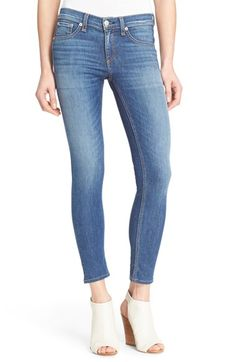 Free shipping and returns on rag & bone/JEAN 'Capri' Crop Skinny Jeans (Rae) at Nordstrom.com. A versatile medium-blue wash accented with minimal whiskering and subtle fading creates a polished look on figure-sculpting skinny jeans finished with cute cropped hems.