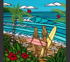 Surf Sisters - Matted print by surf artist Heather Brown. I've been so bummed out since moving away from the islands. I just ordered this print to brighten my day.