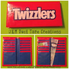 J&M Duct Tape Creations: Twizzlers Bi-Fold Duct Tape Wallet $8