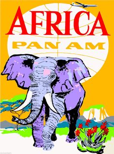 Africa by Air Elephant Vintage African Travel Advertisement Art Poster