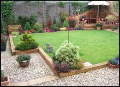 sleeper garden edging ideas - Google Search