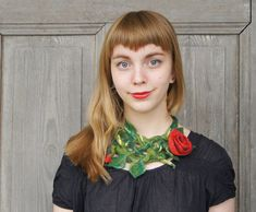 Hand felted necklace with red rose floral collar by filcAlki, $69.00