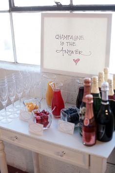 Champagne bar... I think setting one of these up for the bride and bridesmaids while they get ready might be necessary. Can't wait to get ready w/ my girls!