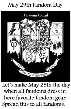 Fandom day! SPREAD THE WORD. This has to happen. It's coming up! Don't forget, my fellow fangirls/boys!!!!! I did this... On my dad birthday