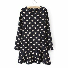 Black Long Sleeve Hearts Print Ruffle Dress pictures