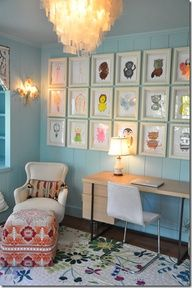Another great idea for our toddler room wall art.  I love the fabrics too. #Home