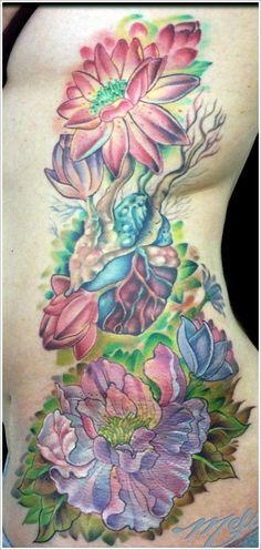 color! peony tattoo