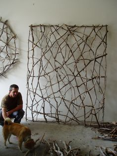 twig woven wall sculpture by Paul Schick