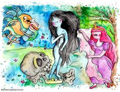 Marceline and the Birth of Venus 8.5x11 inch inkjet print Adventure Time Fan Art Finn and Jake painting