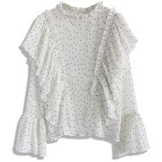 Chicwish Retro Creases and Frills Top in White Dots (1 160 UAH) ❤ liked on Polyvore featuring tops, white, white cut out top, white bell sleeve top, bell sleeve top, polka dot top and flutter top