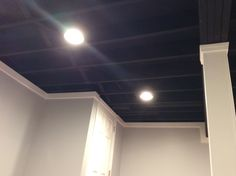 "A ""Blackout"" ceiling gives this finished basement a more industrial feel. #industrial #blackout #loft #ohio"