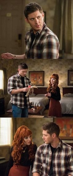 Dean and Rowena haha Ruth Connell, Jensen Ackles Supernatural, Season 12, Supernatural Seasons, Winchester Boys, Most Handsome Men, Nerdy Things, Destiel, Man Alive